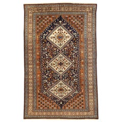 Vintage Persian Ardabil Rug with Diamond Medallions in Brown and Ivory