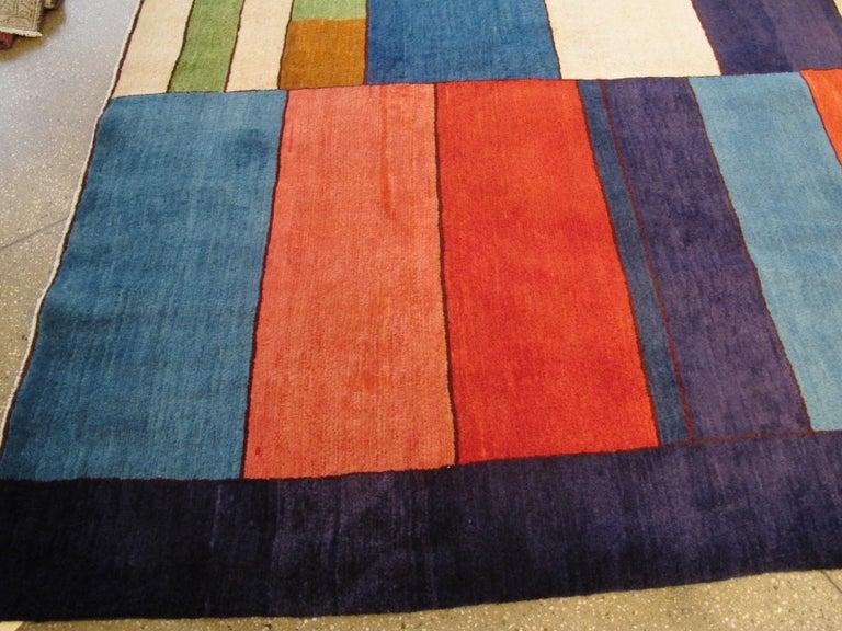 Wool Midcentury Handmade Persian Art Deco Rug Inspired By Edward McKnight Kauffer For Sale
