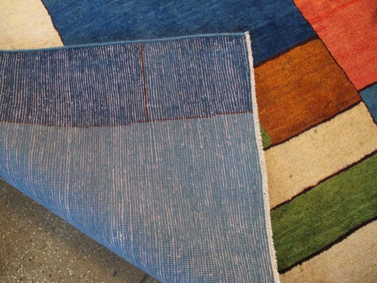 Midcentury Handmade Persian Art Deco Rug Inspired By Edward McKnight Kauffer For Sale 1