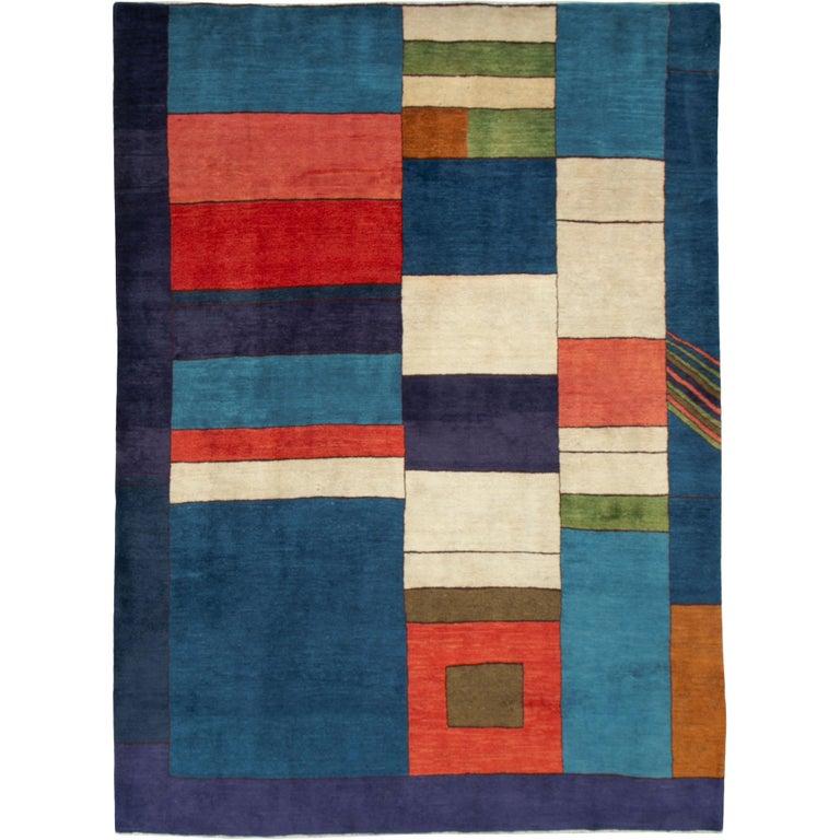 Midcentury Handmade Persian Art Deco Rug Inspired By Edward McKnight Kauffer For Sale