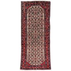 Vintage Persian Assadabad Hamadan Accent Rug, Small Runner Arts & Crafts Style