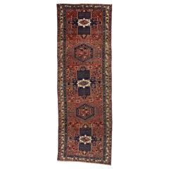 Vintage Persian Azerbaijan Hallway Runner with Mid-Century Modern Tribal Style