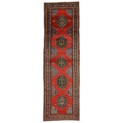 Vintage Persian Azerbaijan Runner, Tribal Hallway Runner