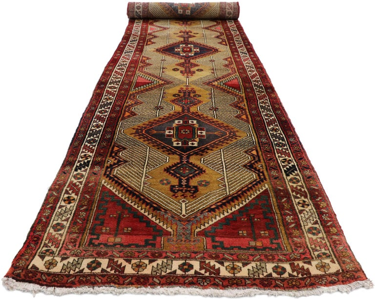 Hand-Knotted Vintage Persian Azerbaijan Runner with Tribal Art Deco Style For Sale