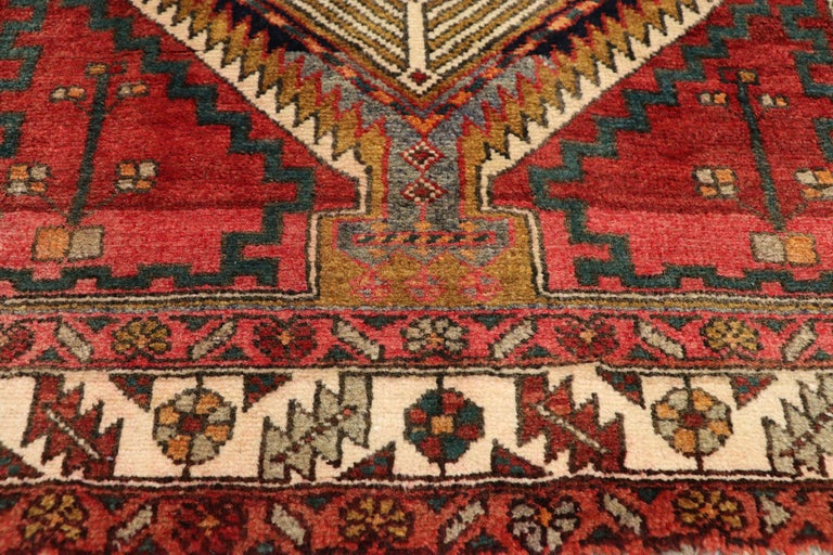 Vintage Persian Azerbaijan Runner with Tribal Art Deco Style In Good Condition For Sale In Dallas, TX
