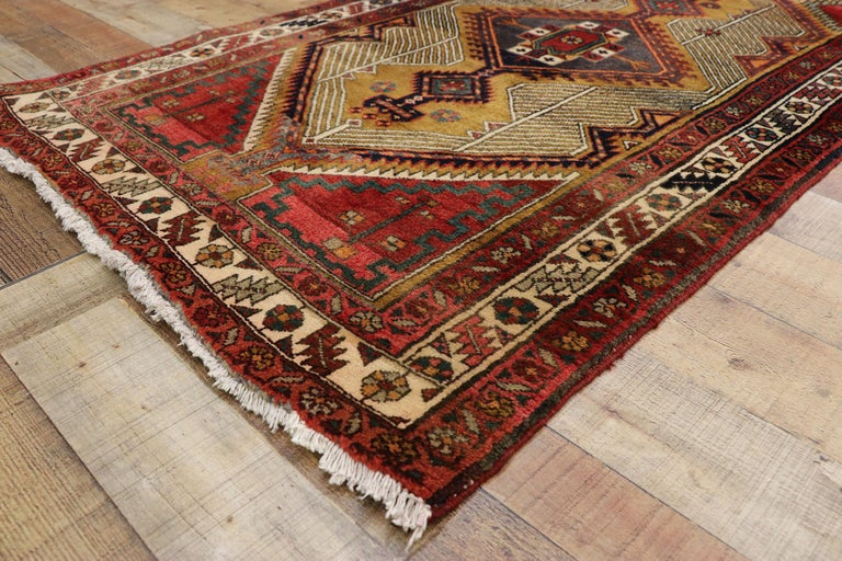 Wool Vintage Persian Azerbaijan Runner with Tribal Art Deco Style For Sale