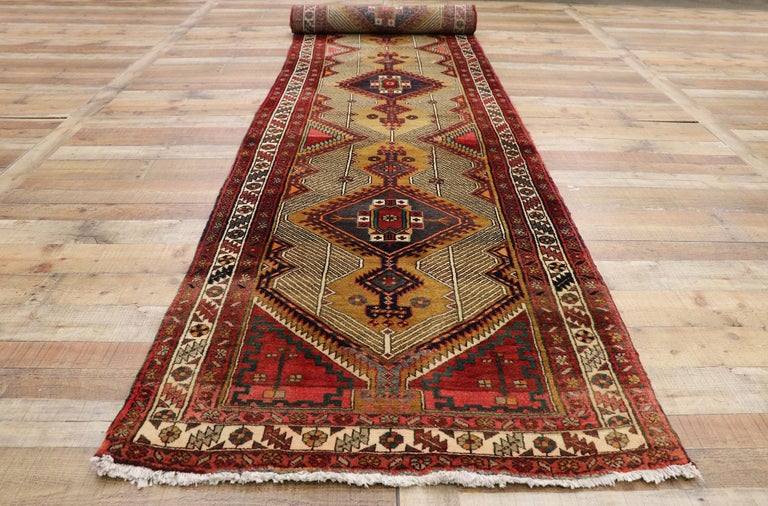 Vintage Persian Azerbaijan Runner with Tribal Art Deco Style For Sale 1
