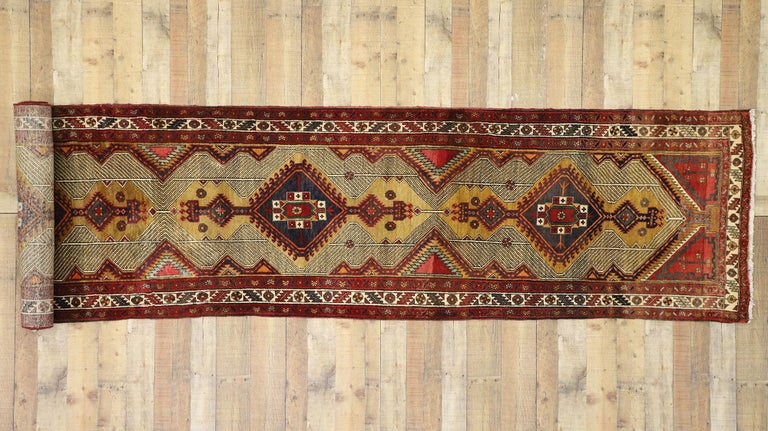 Vintage Persian Azerbaijan Runner with Tribal Art Deco Style For Sale 2