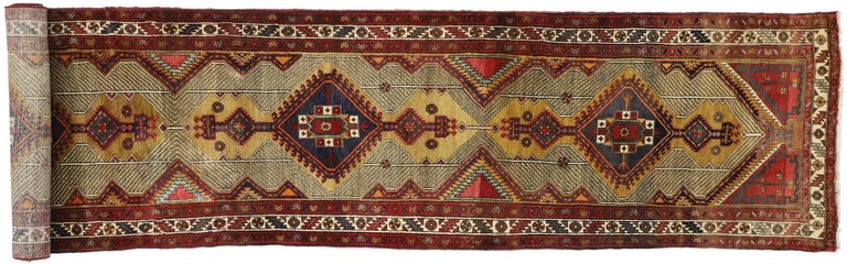 Vintage Persian Azerbaijan Runner with Tribal Art Deco Style For Sale 3