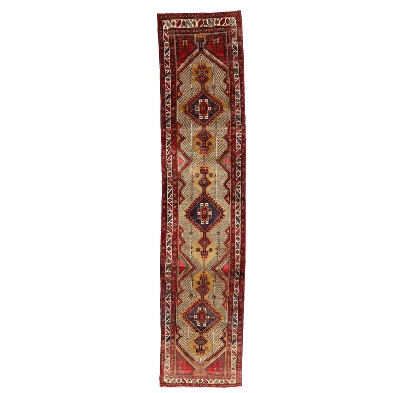 Vintage Persian Azerbaijan Runner with Tribal Art Deco Style For Sale