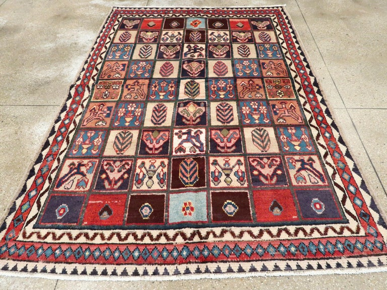 Hand-Knotted Vintage Persian Bakhtiari Rug For Sale