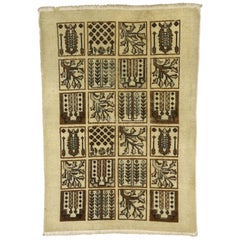 Vintage Persian Bakhtiari Rug with Garden Design and Black Forest Style