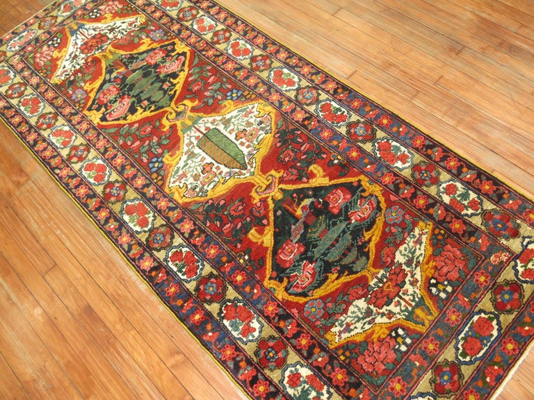 Vintage Persian Bakhtiari Runner In Excellent Condition For Sale In New York, NY