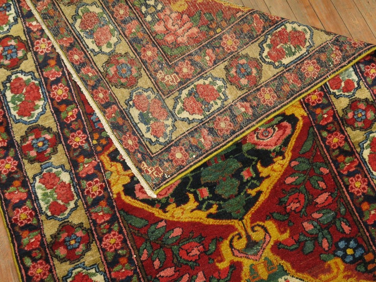 Colorful Persian Bakhtiari runner with a large scale floral design.