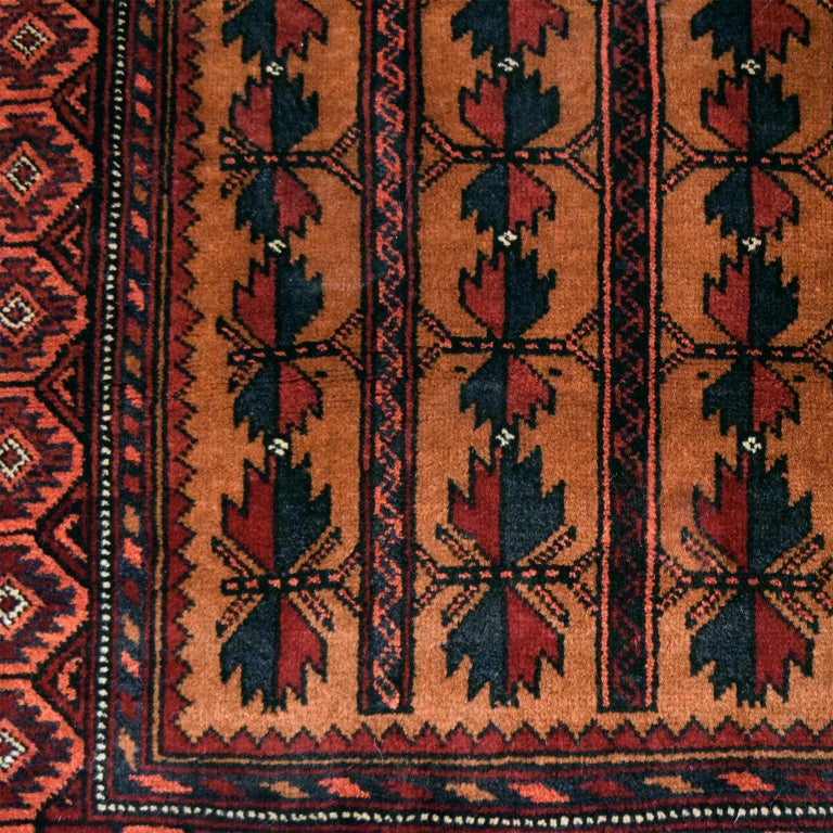 Vegetable Dyed Vintage Persian Balouchi Carpet in Red, Gold, Pink and Blue Wool For Sale