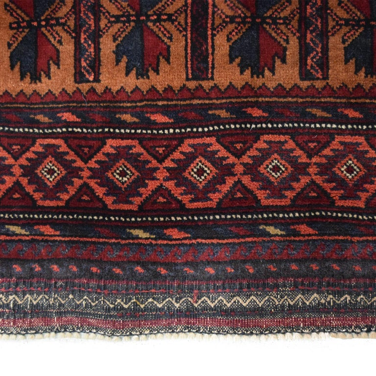 Vintage Persian Balouchi Carpet in Red, Gold, Pink and Blue Wool In New Condition For Sale In New York, NY