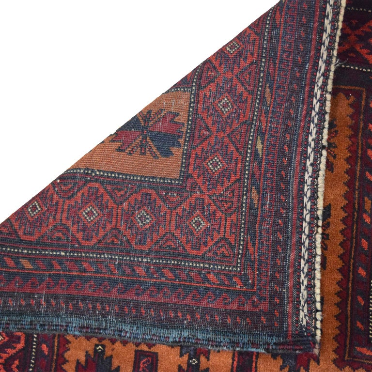 Contemporary Vintage Persian Balouchi Carpet in Red, Gold, Pink and Blue Wool For Sale