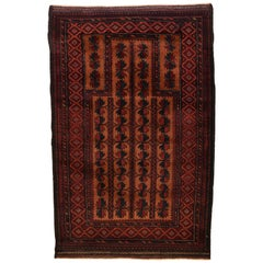 Vintage Persian Balouchi Carpet in Red, Gold, Pink and Blue Wool