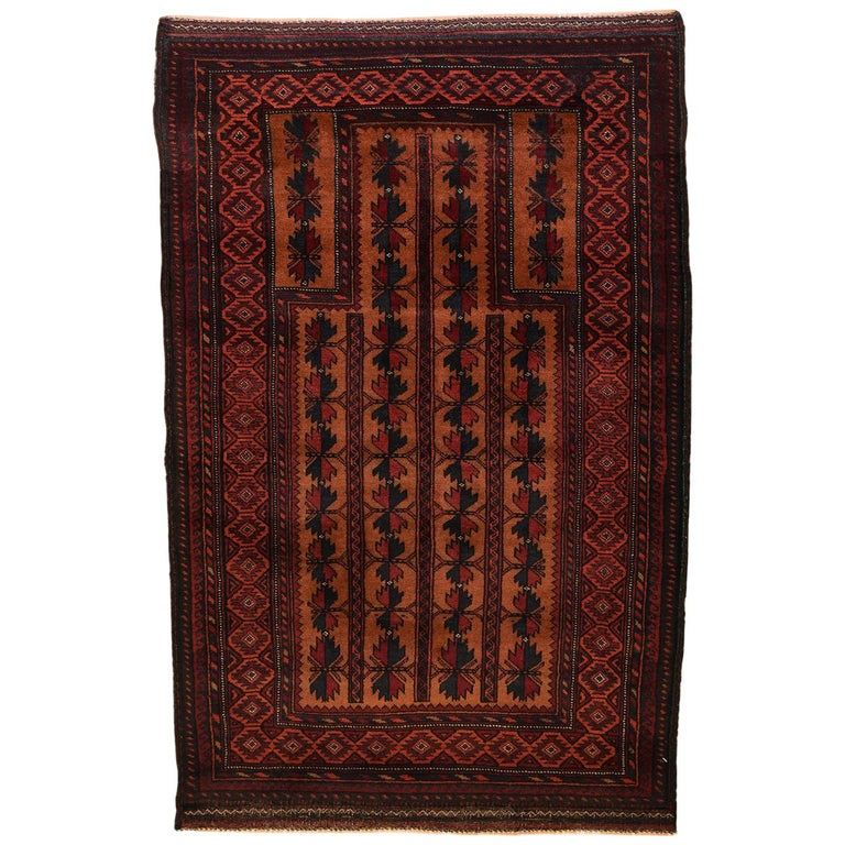 Vintage Persian Balouchi Carpet in Red, Gold, Pink and Blue Wool For Sale
