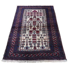 Vintage Persian Baluch Pure Wool Hand Knotted Oriental Rug