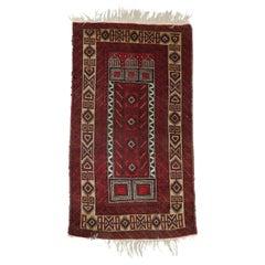 Vintage Persian Baluch Tribal Oriental Prayer Rug, Stylized Mosque Design