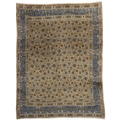 Vintage Persian Birjand Area Rug with Traditional Style