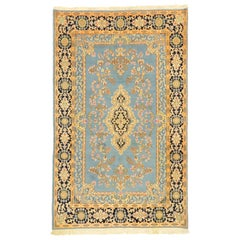Vintage Persian Blue Kerman Rug with Romantic English Country Charm