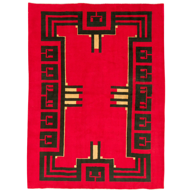 Vintage Persian Art Deco Rug Inspired By Edward McKnight Kauffer
