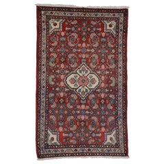 Vintage Persian Dergazine Hamadan Rug with Herati Pattern, Foyer or Entry Rug
