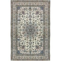 Vintage Persian Fine Wool and Silk Nain Rug