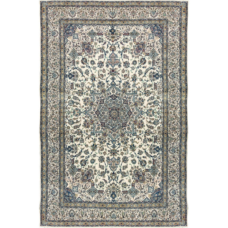 Ivory Wool And Silk Persian Naein Area Rug For Sale At 1stdibs: Vintage Persian Fine Wool And Silk Nain Rug For Sale At