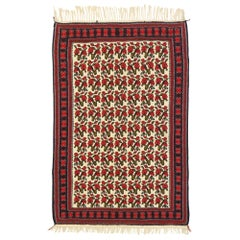 Vintage Persian Floral Kilim Rug with English Tudor Manor House Style