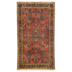Vintage Persian Floral Sarouk Rug with Traditional English Tudor Style