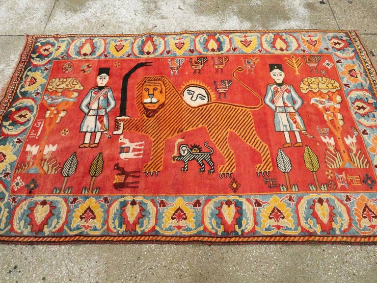 Vintage Persian Gabbeh Rug In Excellent Condition For Sale In New York, NY