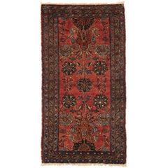 Vintage Persian Hamadan Accent Rug with English Tudor Manor House Style