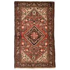 Vintage Persian Hamadan Accent Rug with Rustic Style