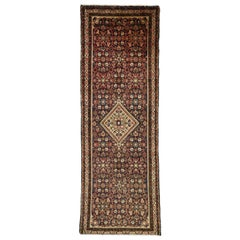 Vintage Persian Hamadan Hallway Runner with Rustic Arts & Crafts Style