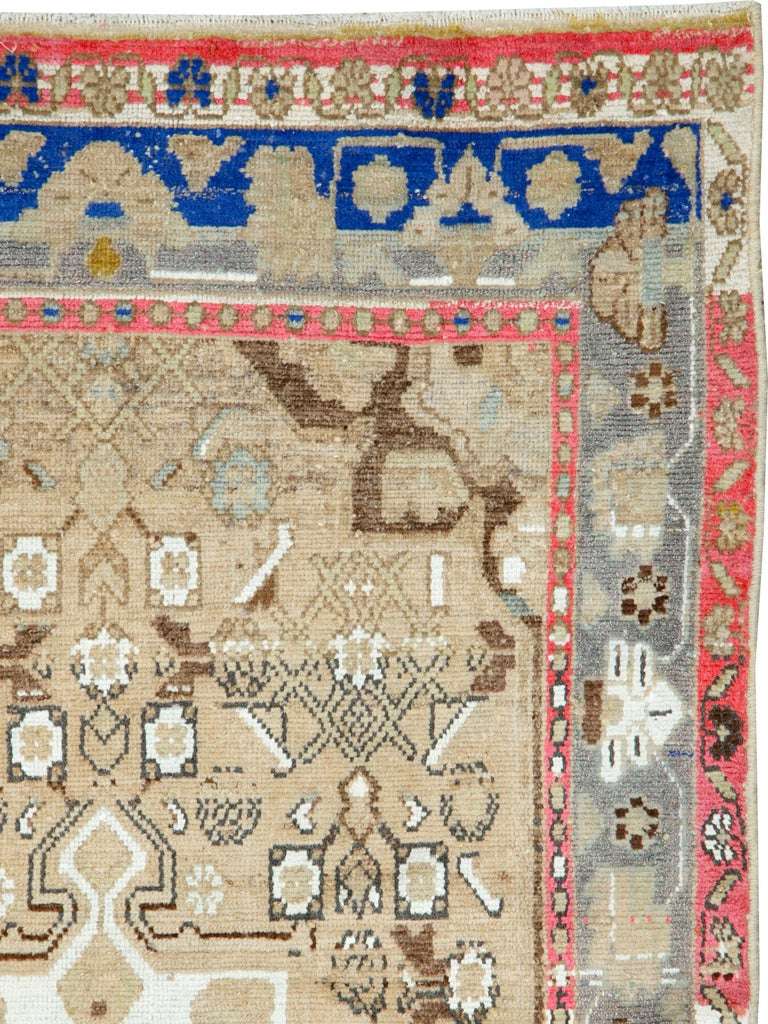 Folk Art Mid-Century Persian Folk Rug With Cerulean Blue, Grey, Pink, And White Tones For Sale