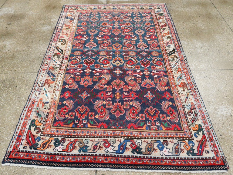 Hand-Knotted Vintage Persian Hamadan Rug For Sale