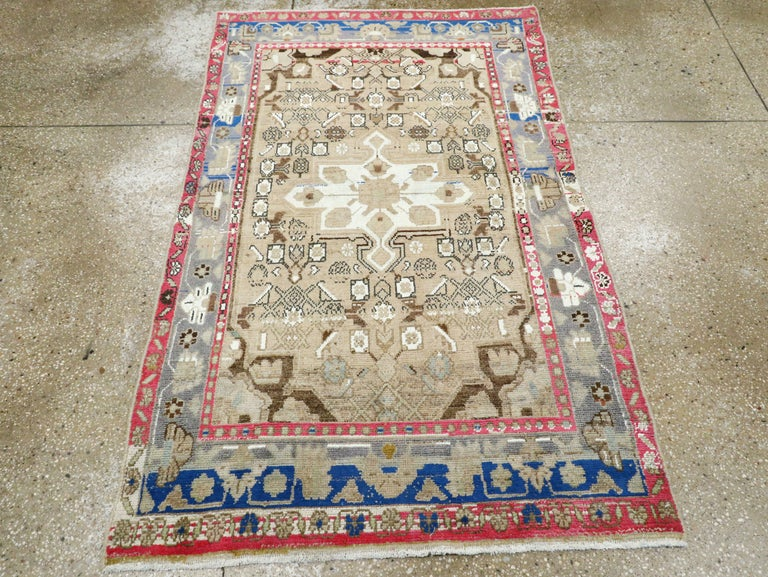 Hand-Knotted Mid-Century Persian Folk Rug With Cerulean Blue, Grey, Pink, And White Tones For Sale