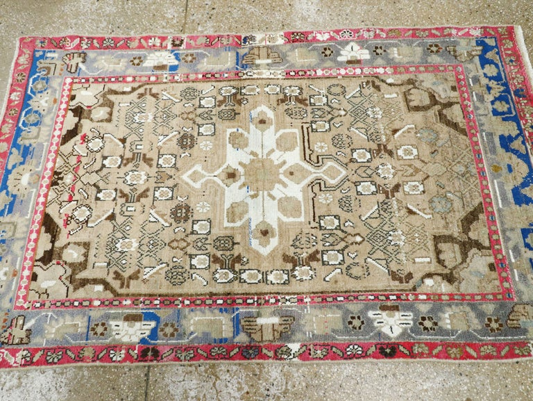 Mid-Century Persian Folk Rug With Cerulean Blue, Grey, Pink, And White Tones For Sale 2