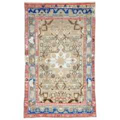 Mid-Century Persian Folk Rug With Cerulean Blue, Grey, Pink, And White Tones