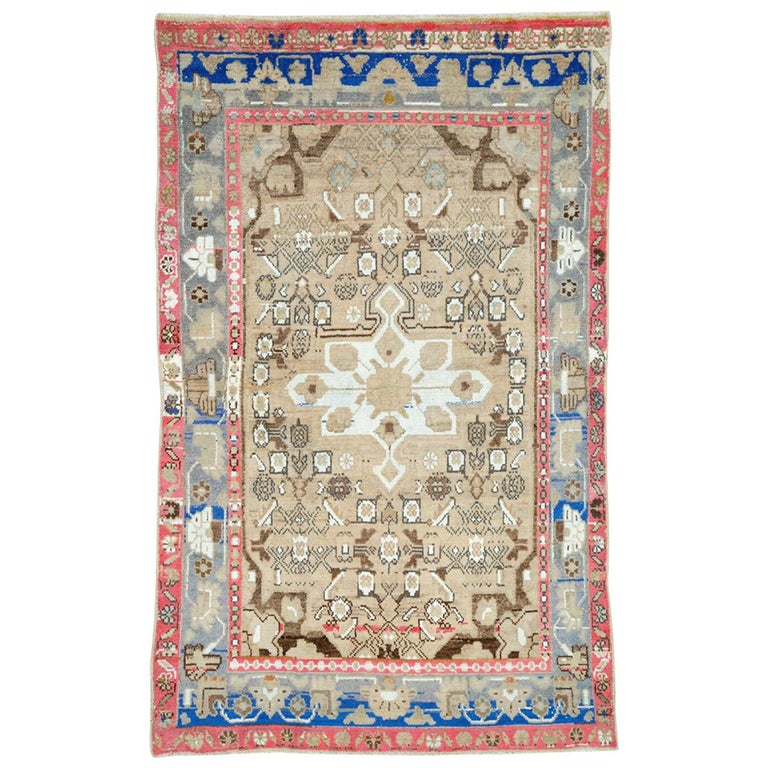Mid-Century Persian Folk Rug With Cerulean Blue, Grey, Pink, And White Tones For Sale