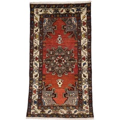 Vintage Persian Hamadan Rug with Vase Design Traditional Style