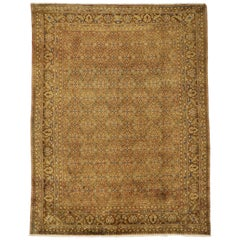 Vintage Persian Hamadan Rug with Victorian Style, Warm and Neutral Colors