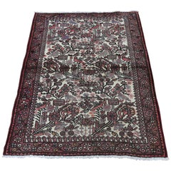 Vintage Persian Hamadan with Birds Pure Wool Hand Knotted Oriental Rug