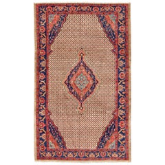 Vintage Persian Hamedan Rug with Layered Floral Medallion in Red, Blue, Cream