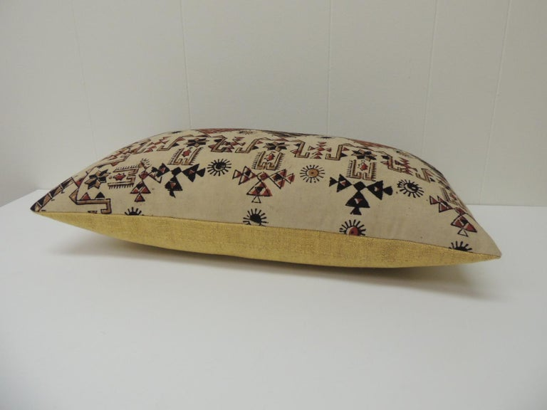 Moorish Vintage Persian Hand-Blocked Kalamkari Lumbar Decorative Throw Pillow For Sale