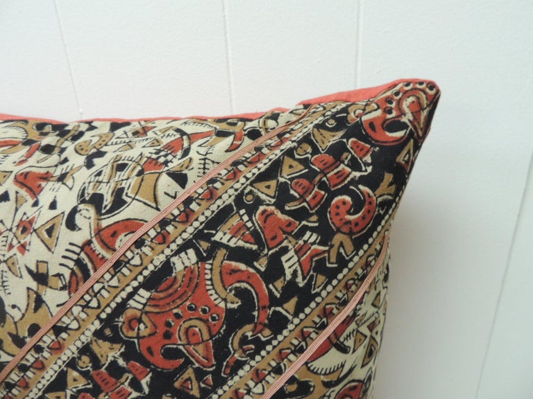 Moorish Vintage Persian Hand-Blocked Kalamkari Square Throw Pillow For Sale