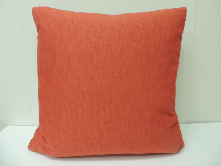 Turkish Vintage Persian Hand-Blocked Kalamkari Square Throw Pillow For Sale